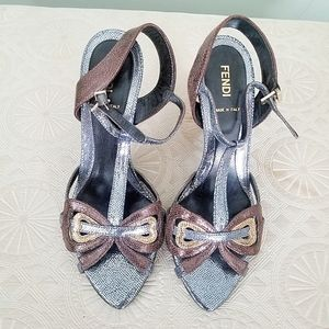 Beautiful Fendi Heels- Bronze, Gold, & Silver